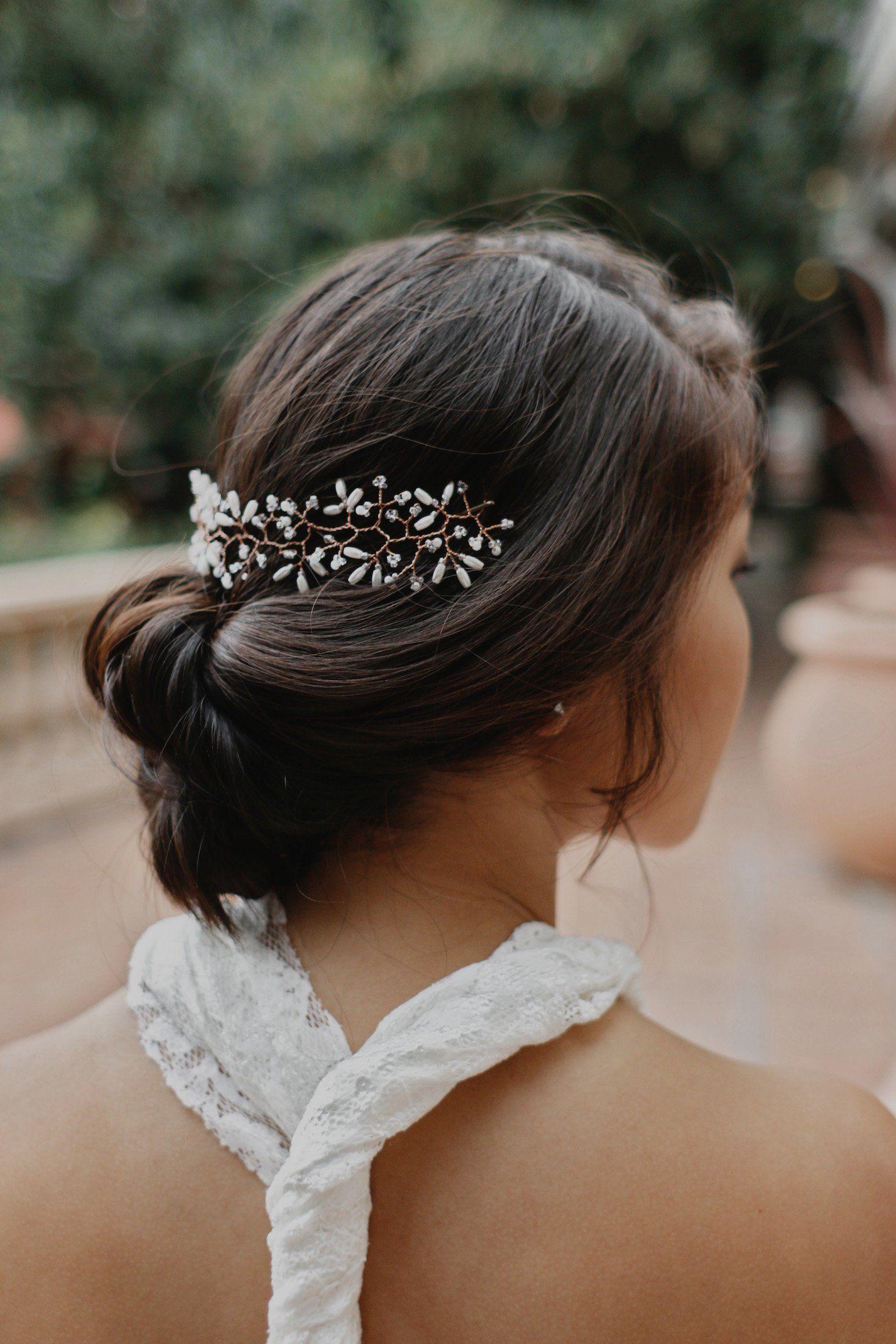 Dainty wedding hair vine bridal wire hair halo pearl