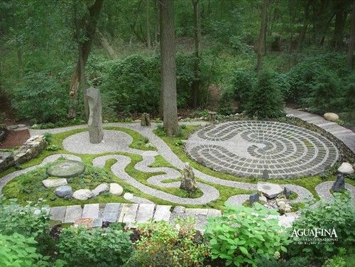 Labyrinth ish aguafina gardens international for Sticks and stones landscaping