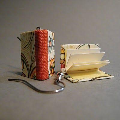 Tiny book earrings, courtesy of BoomBoxBindery (Etsy)