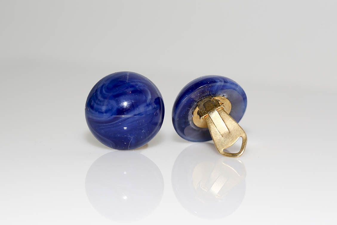 Blue Italian Clip Earrings
