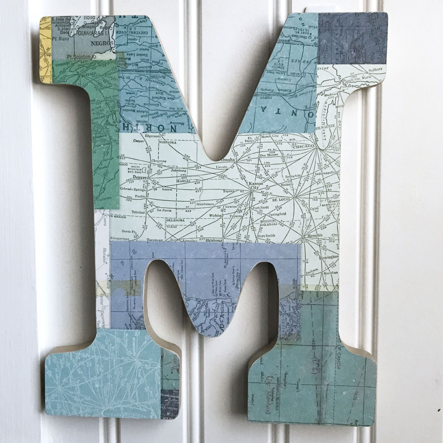 Letter M Wall Decor green map letter m,wall decor,wall letter,wood letter,letter art