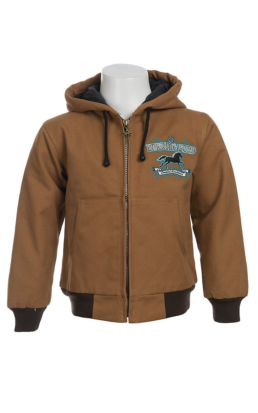 Cowgirl Hardware Girl S Tan Running Wild Logo Crystal Canvas Jacket Childrens Outerwear Outerwear Jackets Childrens Clothes [ 1440 x 900 Pixel ]