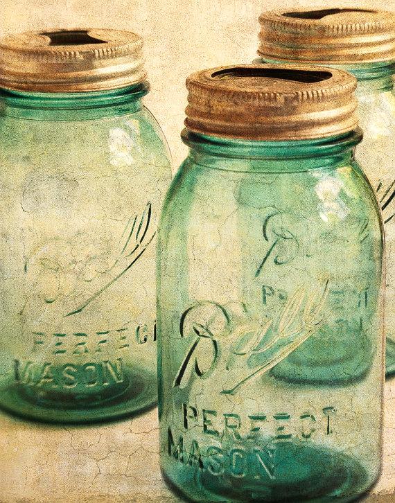 Mason Jar Photograph - Shabby Chic - Home Decor - Wall Art ...