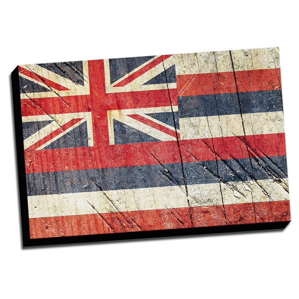 Hawaii distressed state flag stretched canvas wall art products