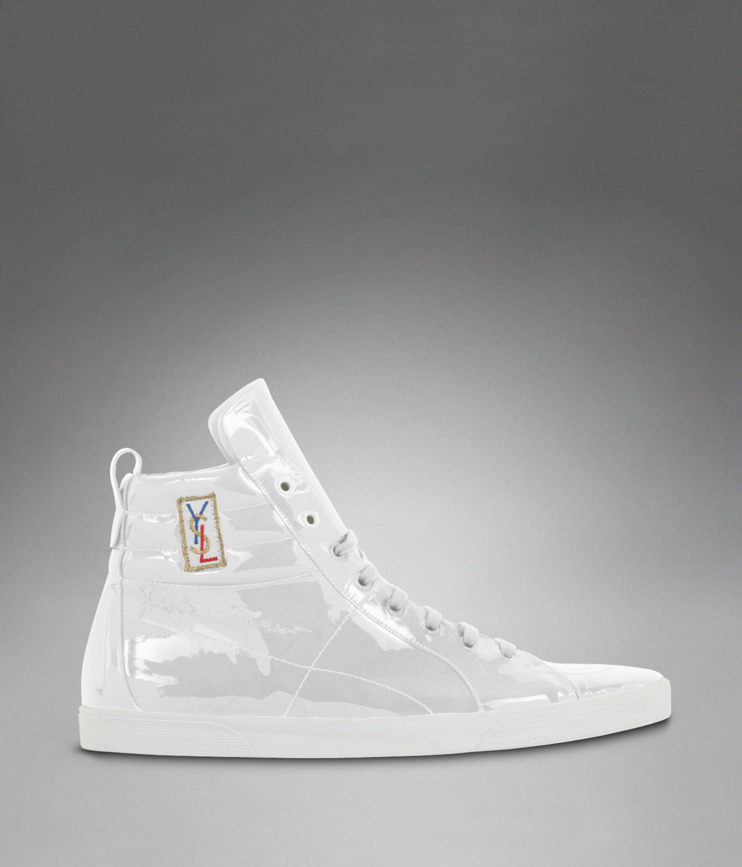 watch d99a4 7b244 YSL Classic High-top Sneaker in White Patent Leather - Sneakers – Shoes –  Men – Yves Saint Laurent – www.ysl.com