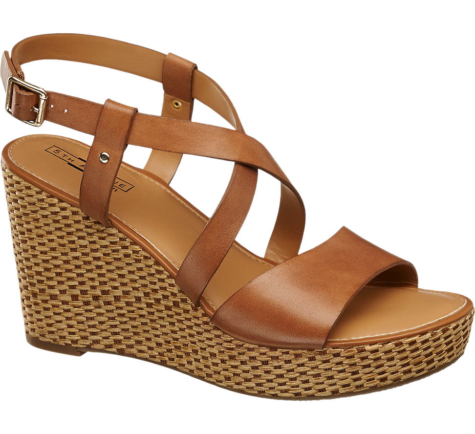 Schwarz Comfort gepolstert Keil Ferse Sandaletten My1LS2
