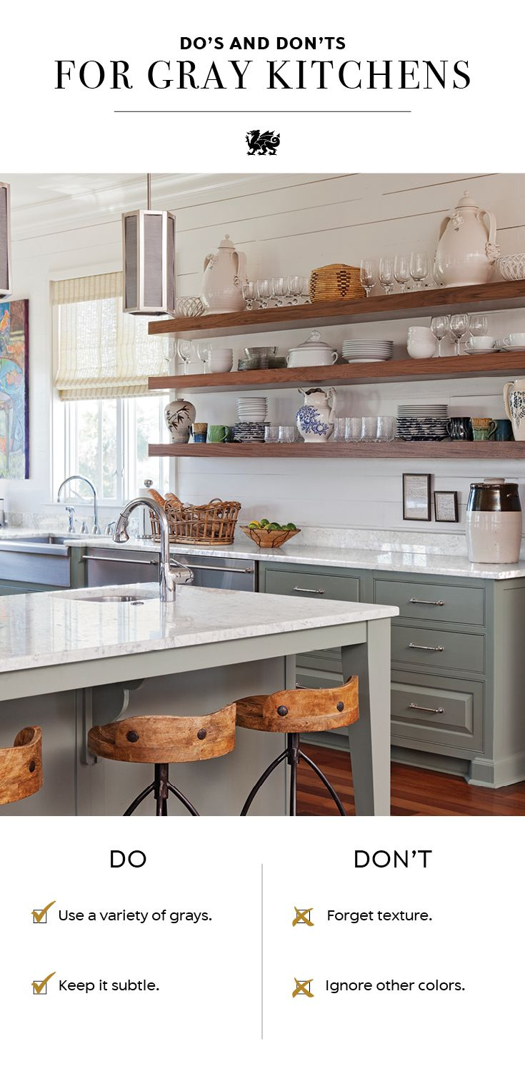 When you're designing a gray kitchen, keep these do's and don'ts in mind. DO: Use a variety of grays for an inviting, layered effect. DON'T forget texture. Add in woods, pattern, and metallic to make your space interesting. DO keep it subtle. If you have gray cabinets or walls, opt for white quartz countertops, such as the Cambria quartz Marble Collection, to infuse brightness. DON'T ignore other colors. Incorporate pops of color to add depth and visual interest. [Featured Design…