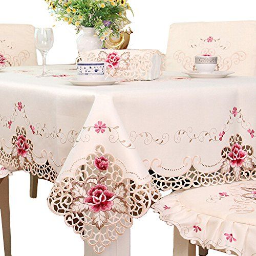 Vinckey Luxury Vintage Flower Embroidered Tablecloth For Kitchen Dining Rectangle 60 X 86 Inch 1017 In 2019 Lace Tablecloth Wedding Wedding Tablecloths Lace Table