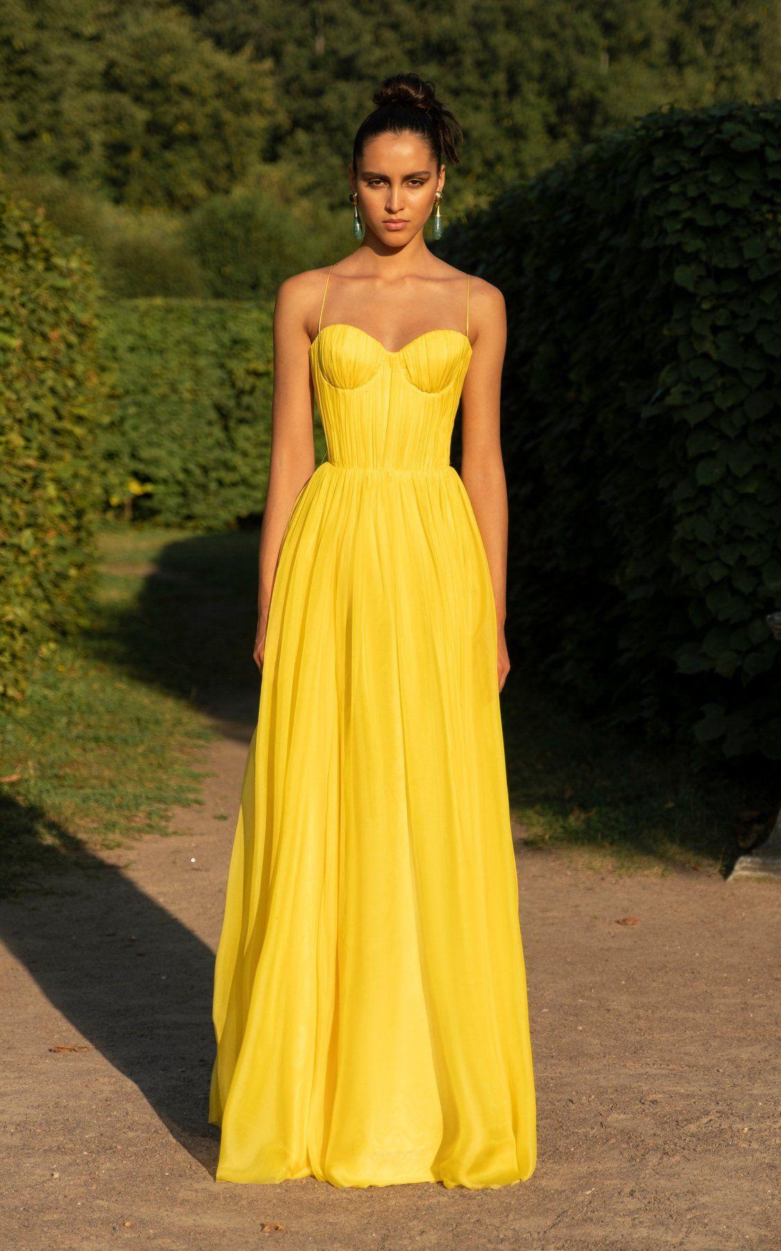 f77afd4aaa74 Empire-Waist Silk Gathered Gown by Rasario SS19 Abito Da Sposa Giallo