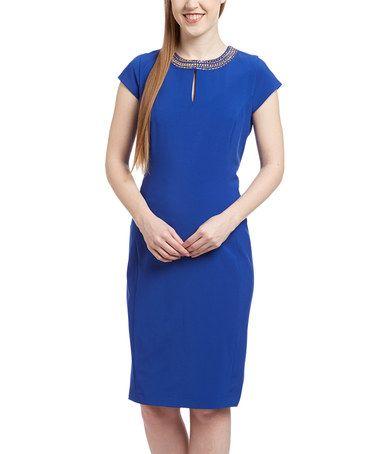 This Royal Blue & Gold Beaded-Yoke Keyhole Sheath Dress by PIERRI is perfect! #zulilyfinds
