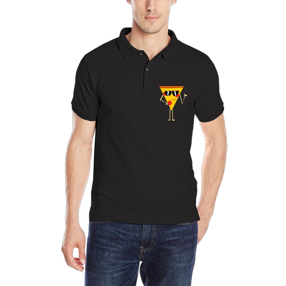 New Fashion Funny Pizza Mens Polo Shirt Business Gyms Cotton Solid