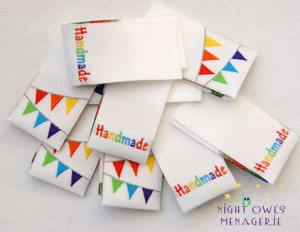 Colorful Banner Foldover Woven Handmade clothing labels