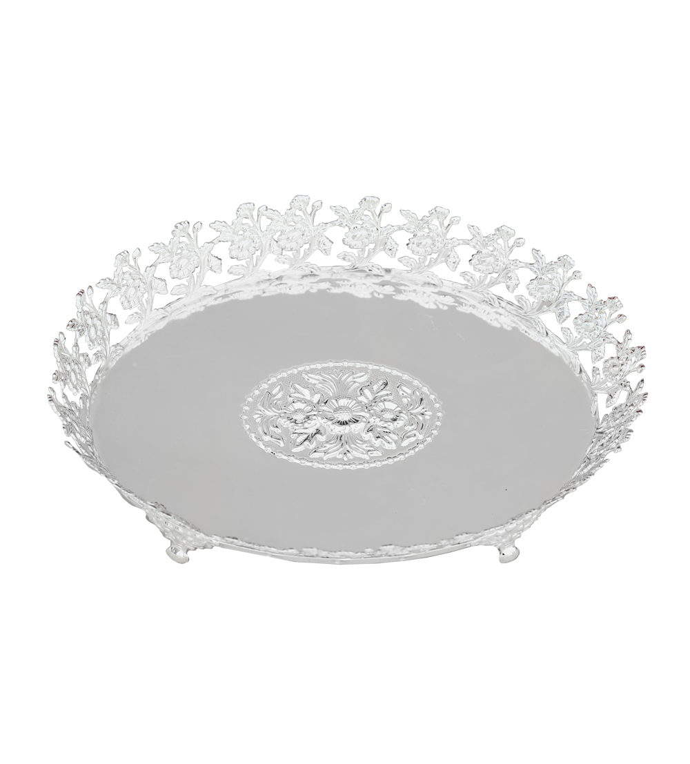Tray With Flowers Round Bigsilver Platedonline Gifts Shopping