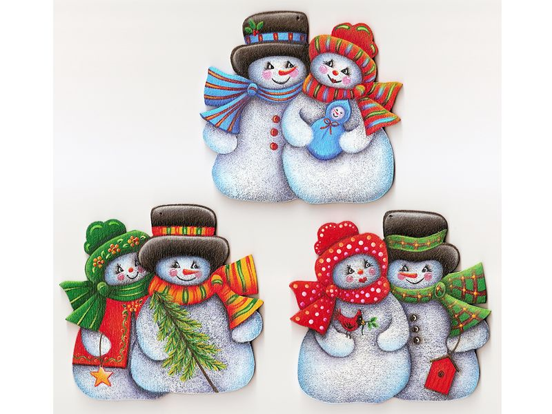 """A TaTa Robin Design, Decorative Painting Pattern Packet #254 """"Snow Couples Ornaments"""". Snowman pairs on your Christmas tree will warm up the Winter. Wooden Snow-Couple Ornaments available on my website:  http://www.tata-robin.com/"""