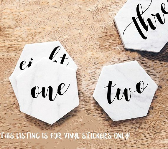 Wedding table number decal place card stickers vinyl table