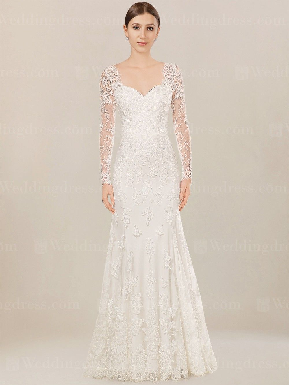 Long sleeves wedding dress is vintage-inspired and features in soft Tulle Lace.
