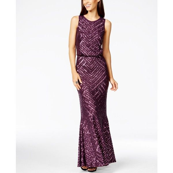 Calvin Klein Sequin Open-Back Mermaid Gown ($279) ❤ liked on Polyvore featuring dresses, gowns, white sparkly dress, white dress, sequin mermaid dress, open back gown and white gown
