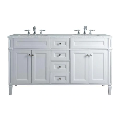 Stufurhome 60 In White Double Sink Bathroom Vanity With Carrara