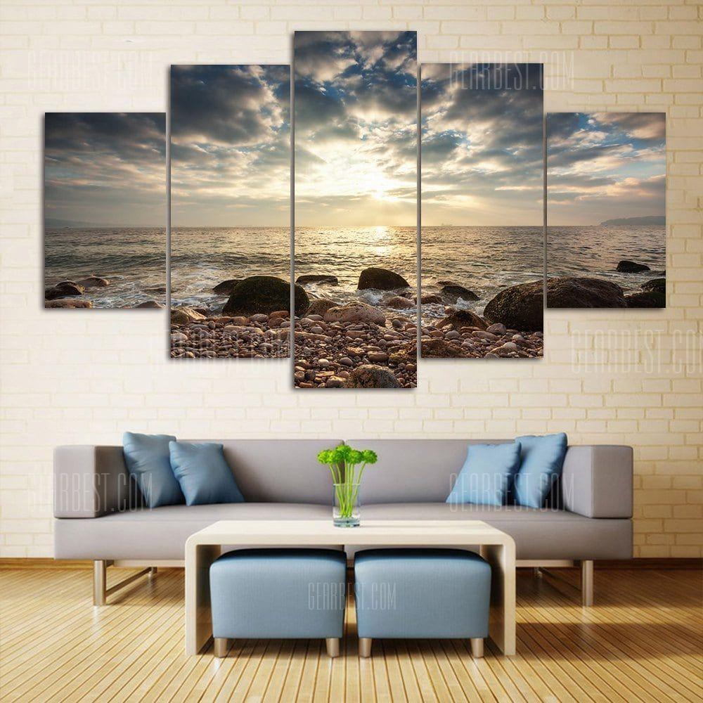 Sea Stone Beach Print Wall Art Split Canvas Paintings Colormix 1pc 12 31 2pcs 12 16 2pcs 12 24 Inch Cheap Wall Art Wall Canvas Painting Cheap Canvas Wall Art
