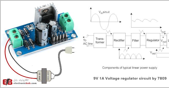 دائرة منظم جهد 9v وتيار 1a بإستخدام 7809 Electronic Bubble Voltage Regulator Solar Charger Power Supply Circuit