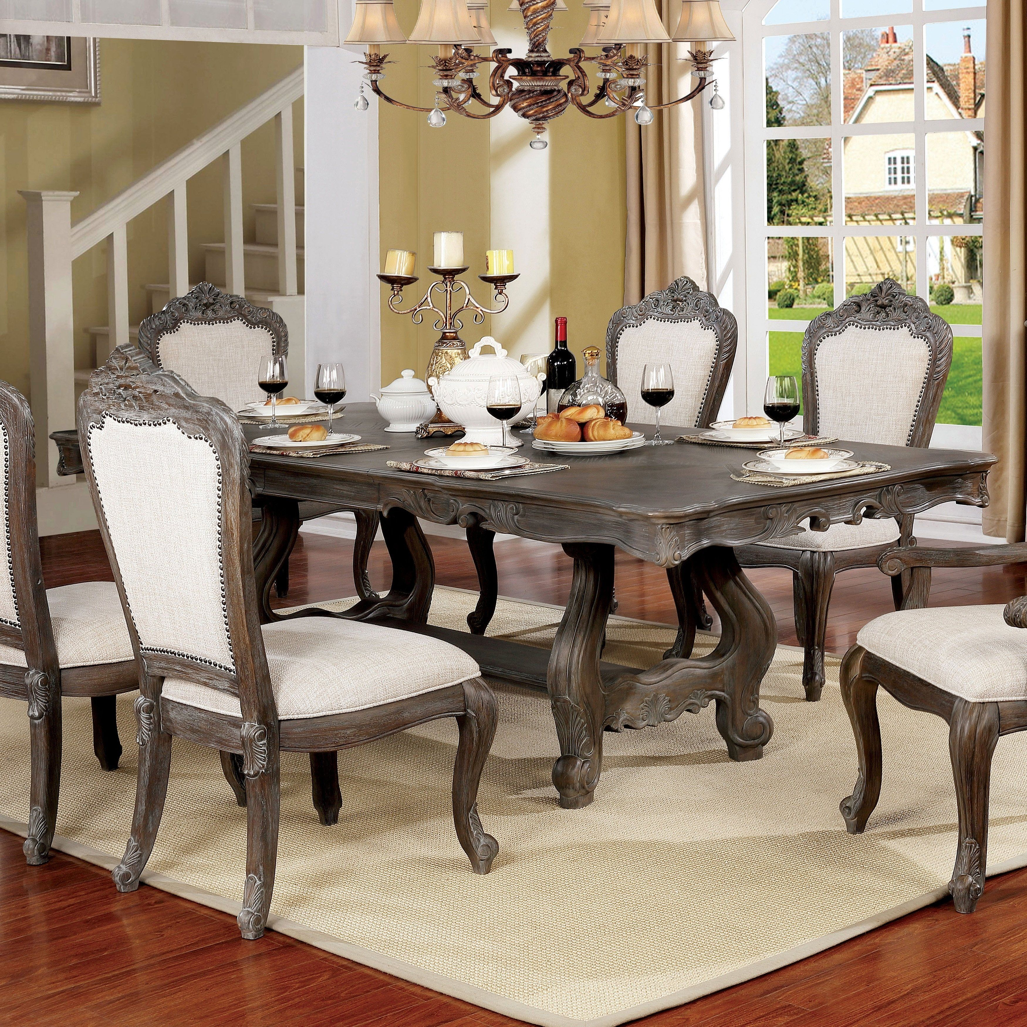 Amalfi Traditional 90 Inch Dining Table Grey By Foa Gray