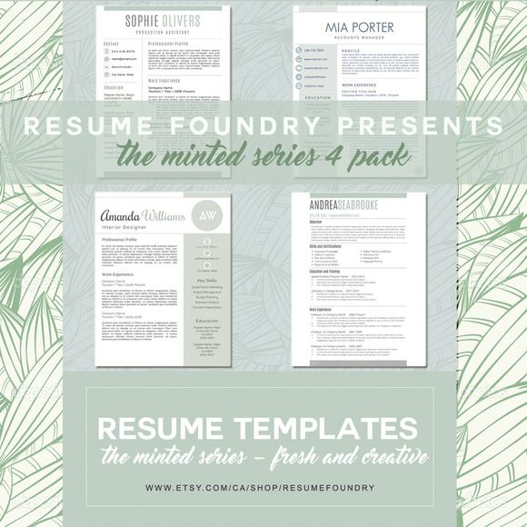 4 pack minted resume templates by resumefoundry on  creativemarket