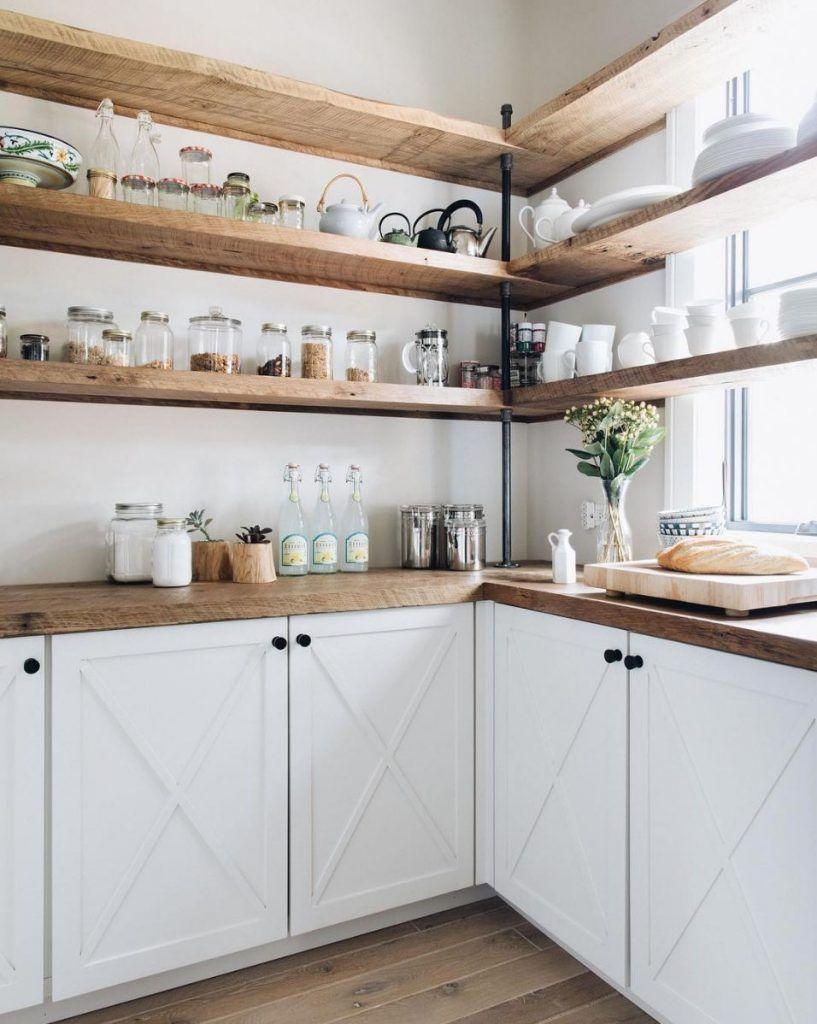 Magical Modern Farmhouse Decorating Ideas 34 Open Kitchen Shelves Kitchen Renovation Kitchen Design
