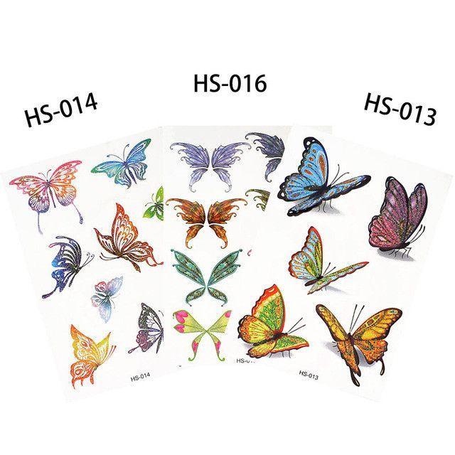 c34a80d00 3 Pieces/set Children Small Glitter Tattoo Decal Princess Butterfly Styling  Temporary Water Transfer Tattoo Sticker HS 6 Designs