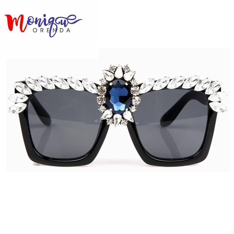 2c3fdde13bb Fashion Sunglasses Women Bling Rhinestones Oversize Square Sunglasses Brand  Designer Vintage Shades Ladies