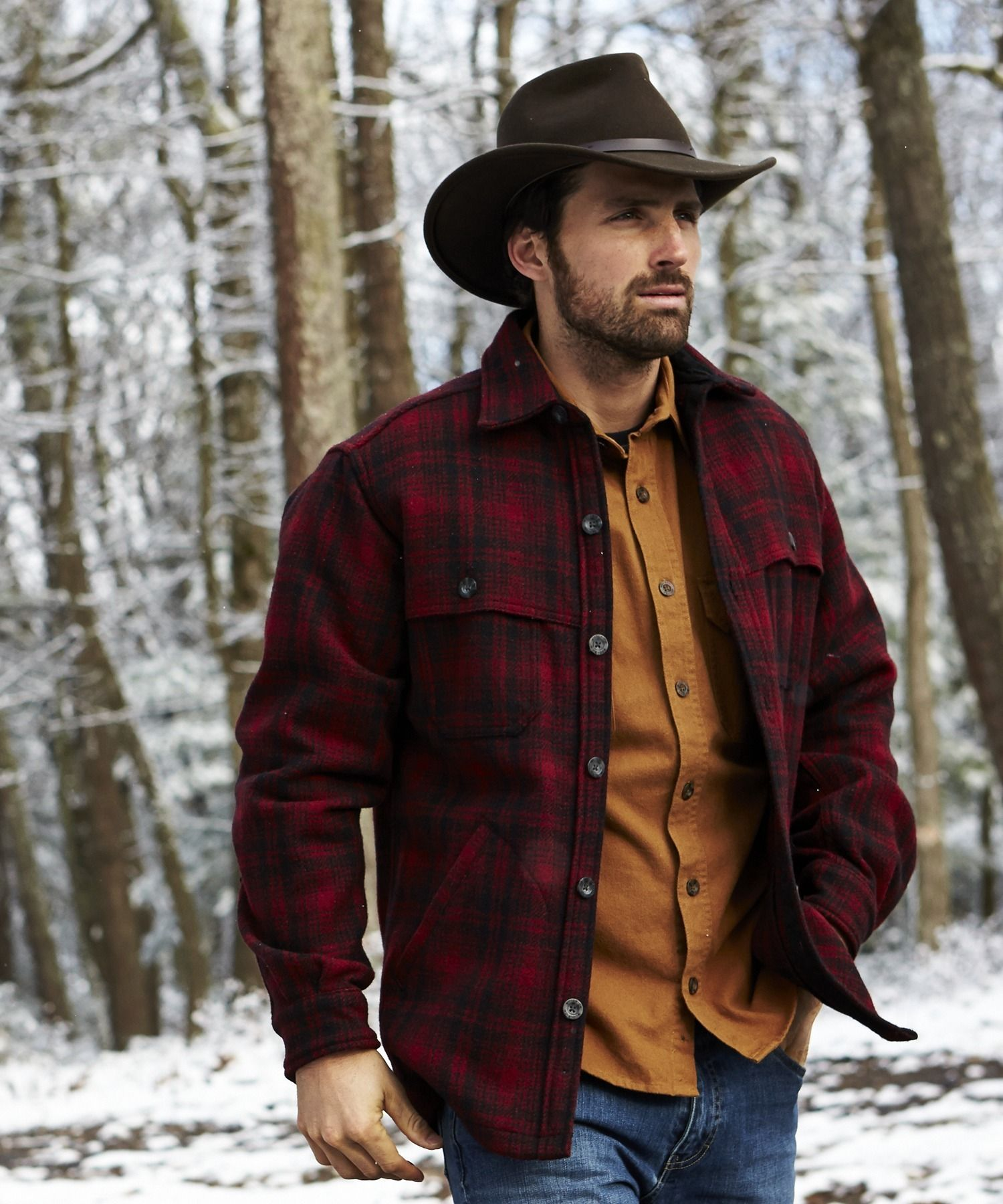 Flannel shirt men outfit  Menus Stag Plaid Wool Shirt by WOOLRICH The Original Outdoor