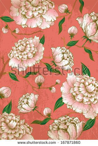 chinese lunar new yearbackgroundchinese backgroundpeony flowers vectorillustration by lyeyee via shutterstock