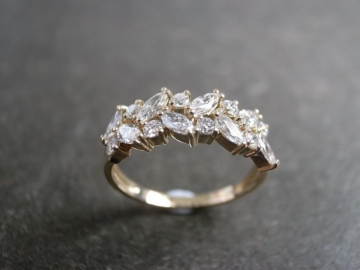 Two Rows Marquise Diamond Engagement Wedding Ring in 14K Yellow Gold Ring