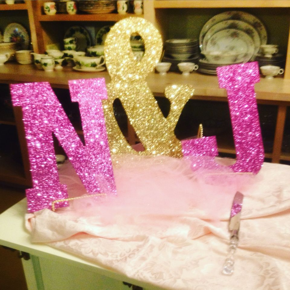 Wooden Letters From Hobby Lobby Sprayed With Adhesive Glue And Glitter And With Pink And Gold Pink And Gold Gold Bridal Showers Sweet Sixteen Parties
