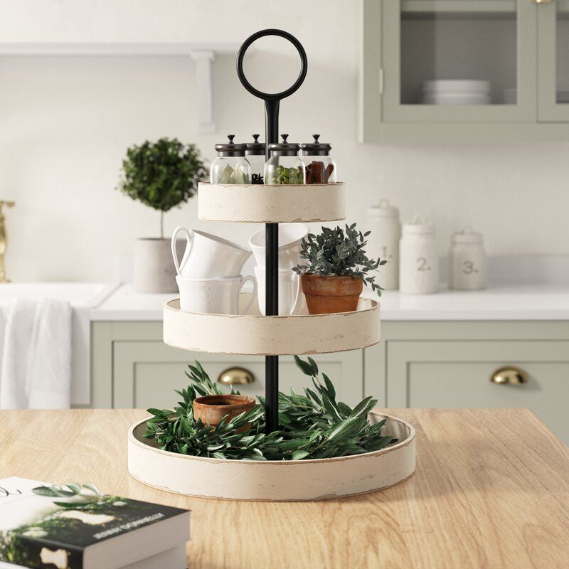 White Round 3 Tiered Tray Tray Decor Tiered Stand Tiered Tray Decor