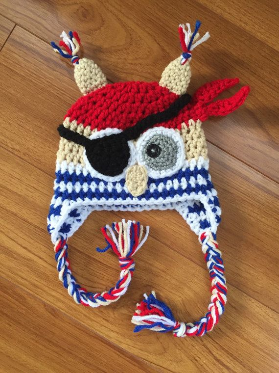 Pirate owl hat Crochet Owl Earflap Hat Baby boy hat by cmiron | Baby ...