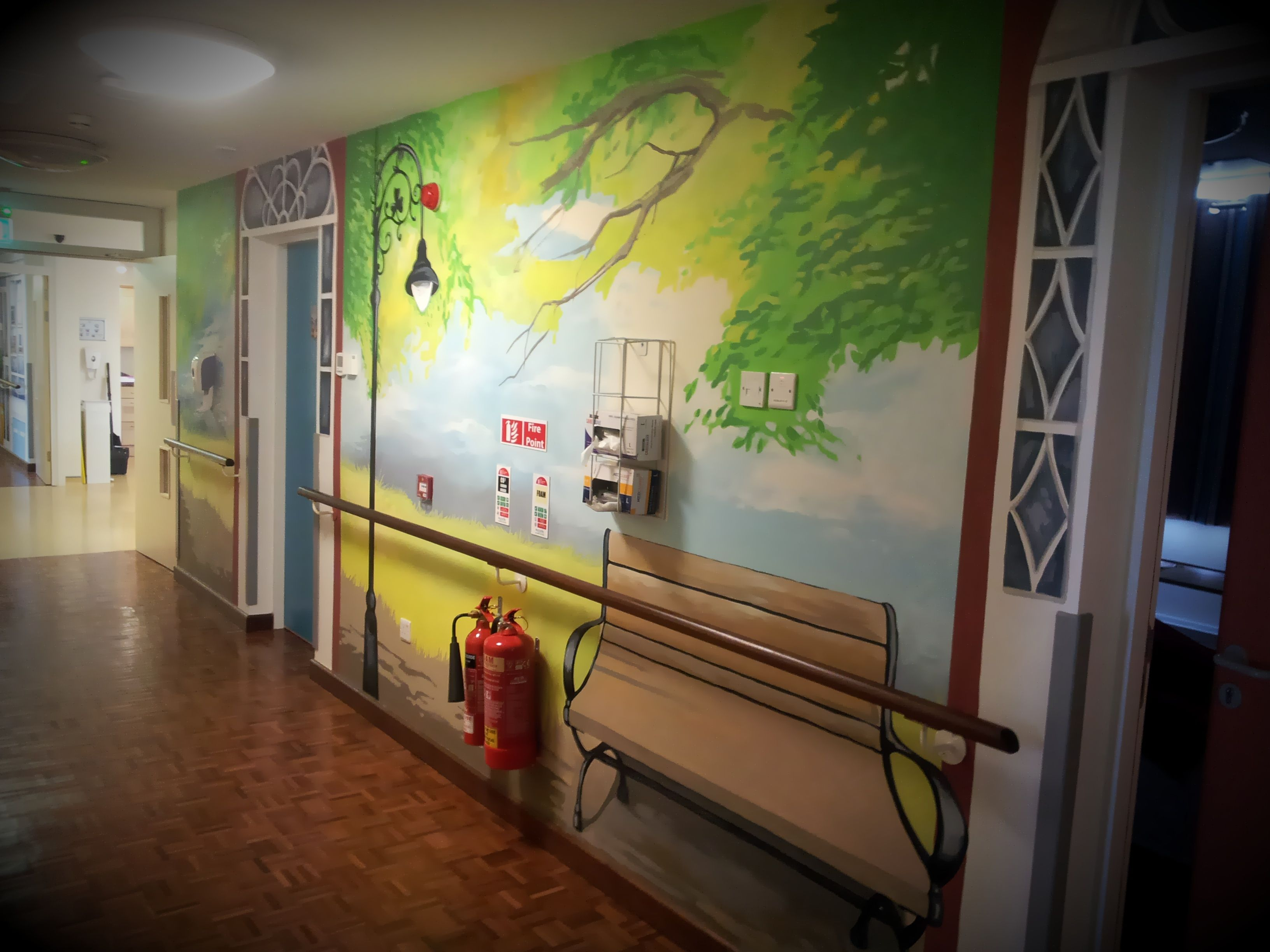 Hand Painted Wall In Nursing Home, Bench, Park , Tree,