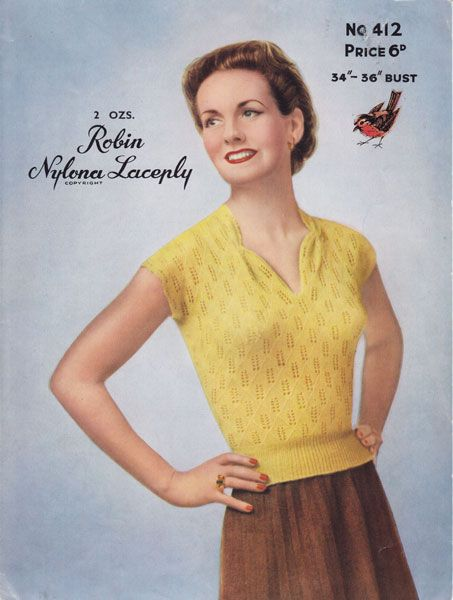 Summer Tops For Ladies 1950s Knitting Patterns Vintage Knit