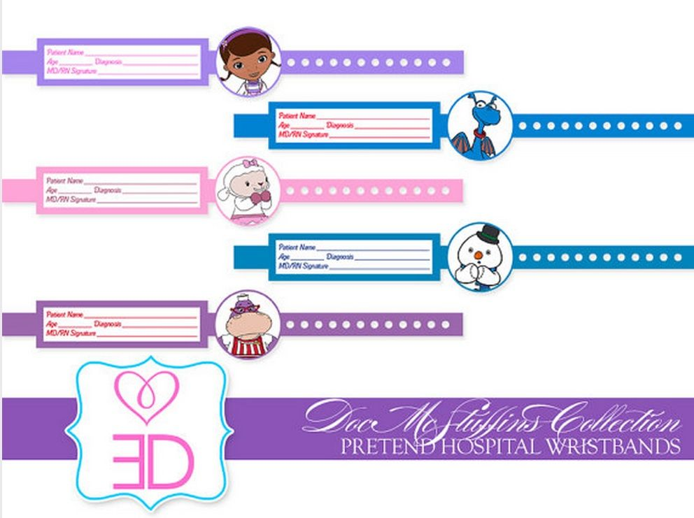 photo about Hospital Bracelet Printable identified as healthcare facility Identification bracelets Document Mcstuffins Printables (Residence