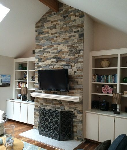 My very own fireplace, renovated using Airstone from Lowe's | For ...