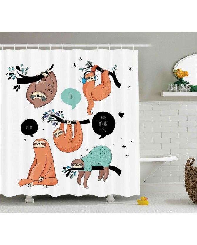 Smiling Sloth Cartoon Shower Curtain Fabric Shower Curtains Animal Shower Curtain Sloth Cartoon