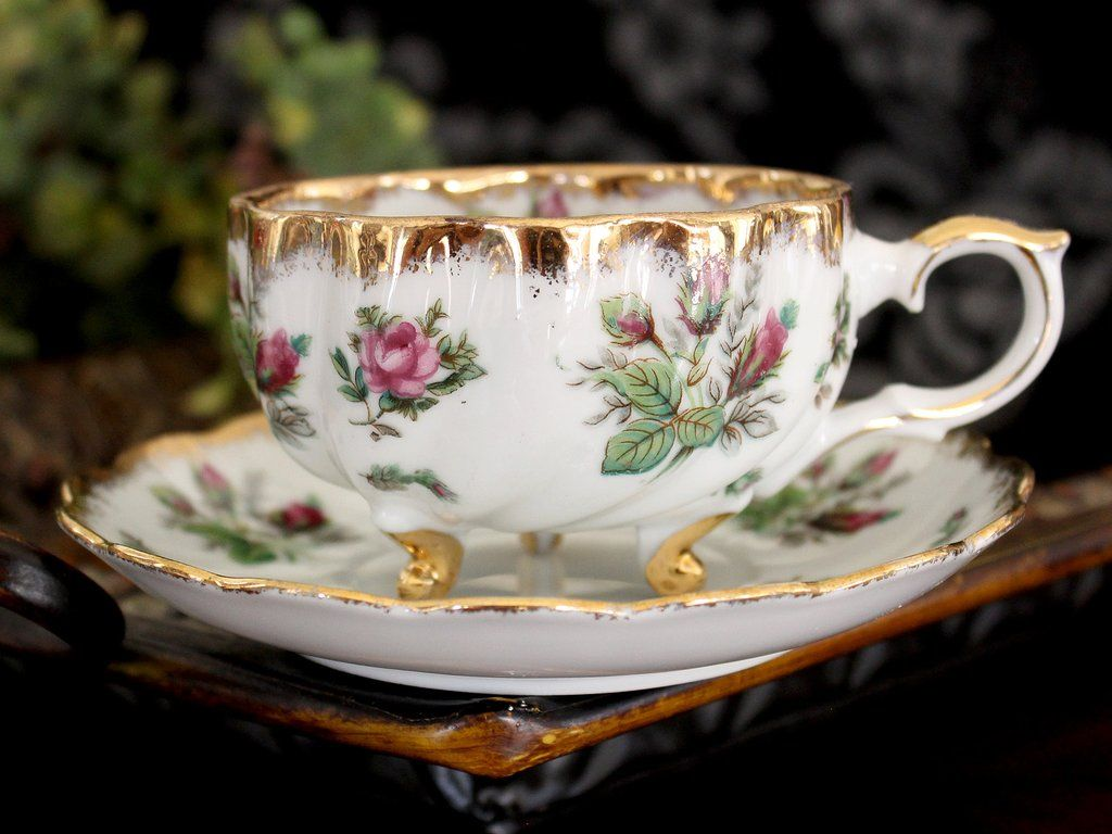 Three Footed Teacup, Moss Rose Chintz, Tea Cup & Saucer, Heavy Gilt Rims 15467 #teasets