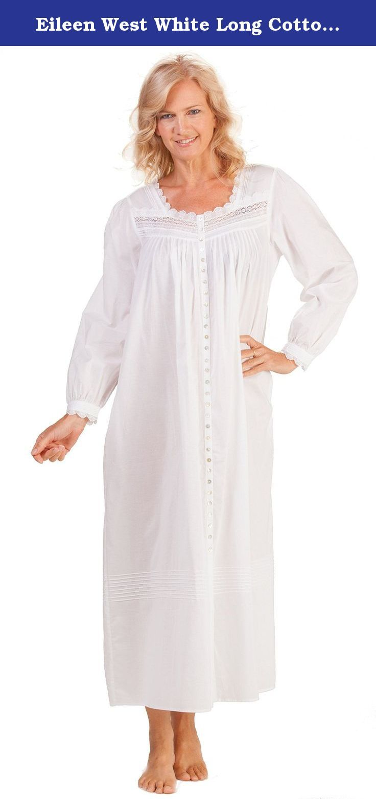 Eileen west white long cotton buttonfront robe in valdez medium