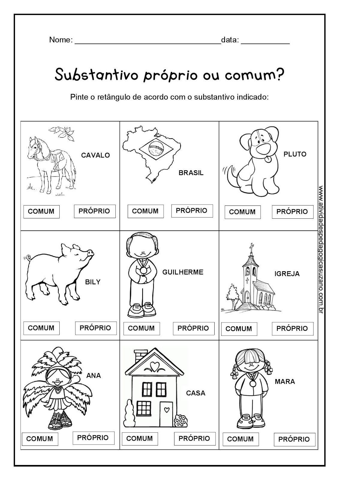 Substantivos Atividades Substantivos Substantivos Comuns E