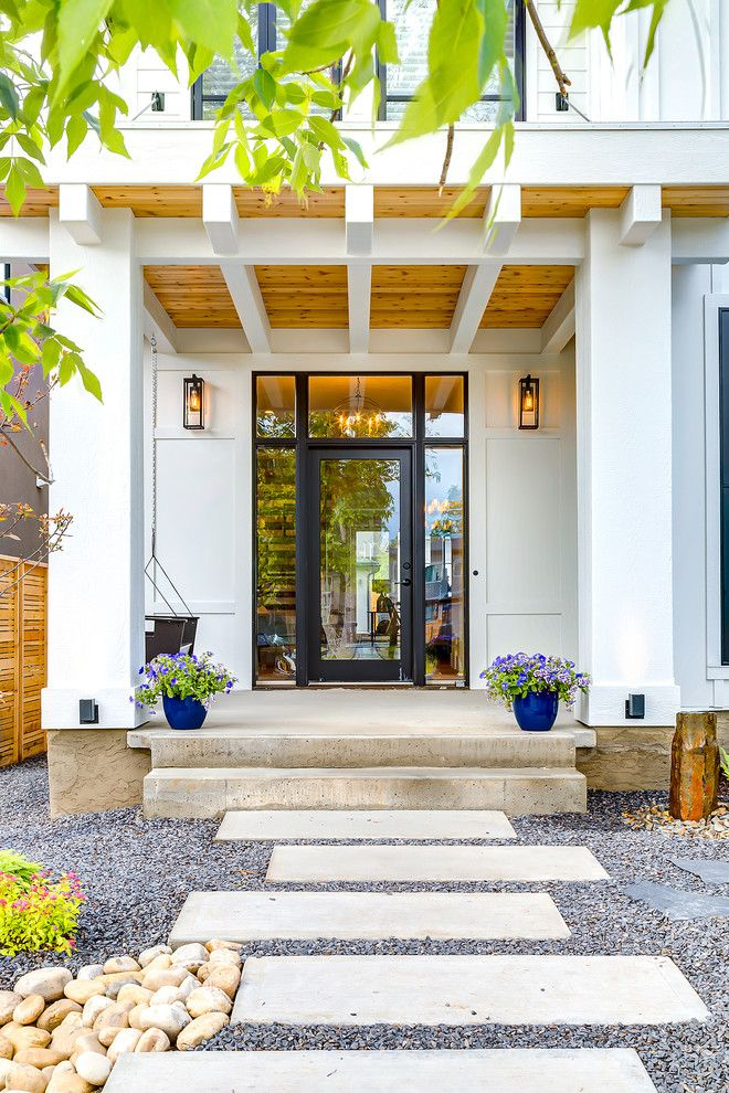 Front Doors With Glass Balcony Black Cedar Soffits Entry Pathway Modern Farmhouse Porch Modern Farmhouse Porch Farmhouse Style House Modern Farmhouse Exterior