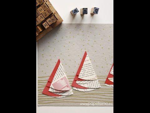 Tarjetas Navideñas hechas a mano originales con árboles de papel