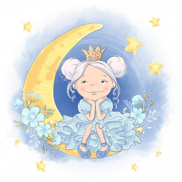 Открытка милая мультяшная принцесса на луне с блестящей ...