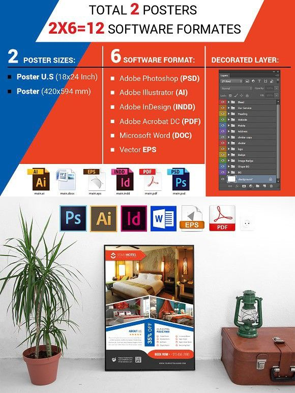 Poster Hotel Vol 07 Adobe Indesign Flyer Template And Adobe
