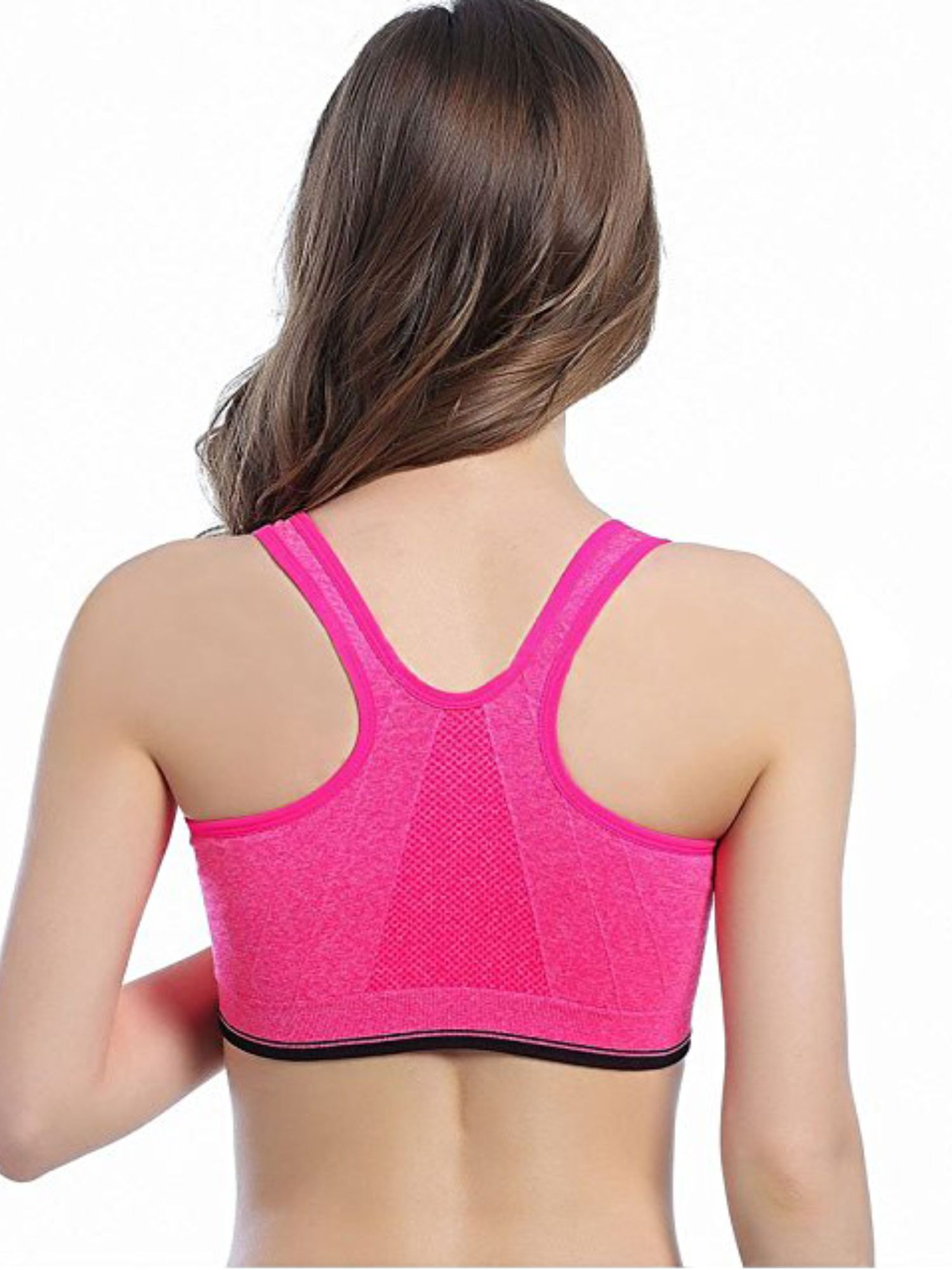 f45be22ecda LELINTA Women s Sports Bra Racerback Padded Stretch Fitness Tops Workout  Zipper Yoga Bra Five Color Size S-L Racerback