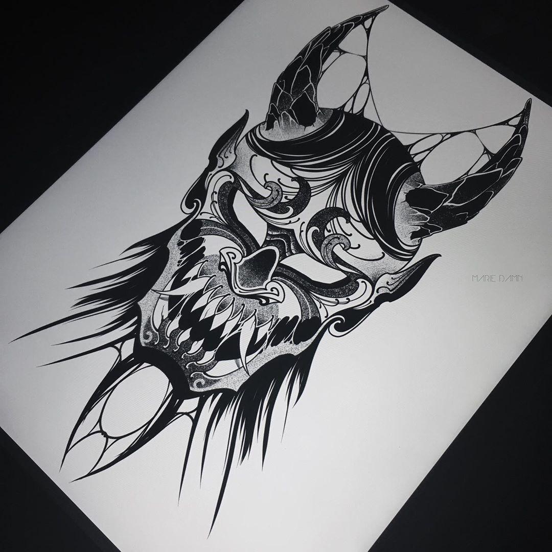 """Maria Melcaeva on Instagram: """"Свободен 👺🖤 #tatts #tattoo #tattooart #tattooartist #tattooist #tattoosketch #tattooflash #darkart #dotwork #darkartist #dotworkart…"""""""