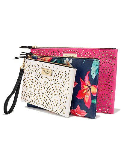 Beauty Pouch Trio | Victoria secret bags, Cosmetic bag set